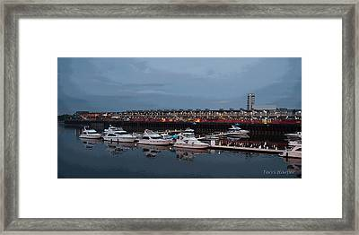 Framed Print featuring the photograph Harbor And Skyline From Old Montreal by Terri Harper