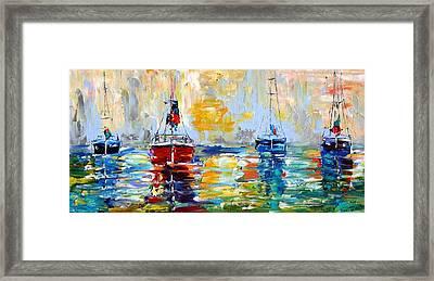 Harbor Boats At Sunrise Framed Print by Karen Tarlton