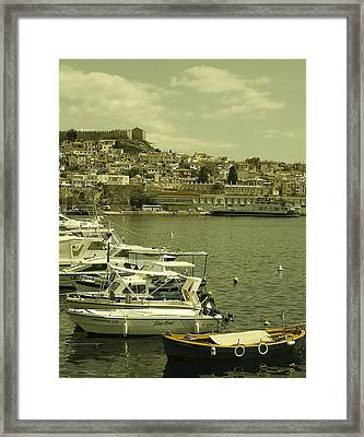 Framed Print featuring the photograph Harbor Boats In Kavala Greece by Tamyra Crossley