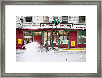 Harbor Fish Market In Winter Framed Print by Benjamin Williamson