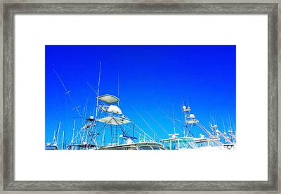 Harbor Happy Hour - Boat Art By Sharon Cummings Framed Print by Sharon Cummings