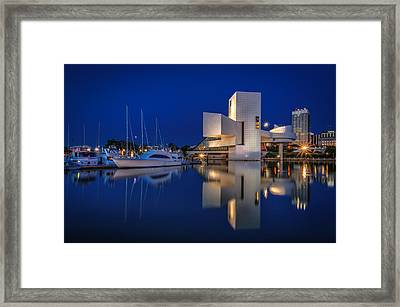 Harbor In Blue Framed Print by At Lands End Photography