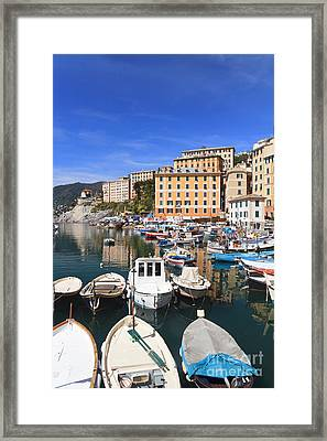 harbor in Camogli - Italy Framed Print by Antonio Scarpi