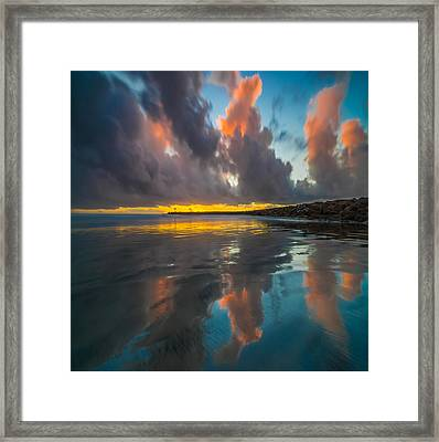 Harbor Jetty Reflections Square Framed Print by Larry Marshall