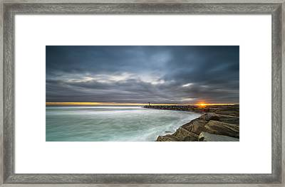 Harbor Jetty Sunset - Pano Framed Print