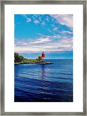 Framed Print featuring the photograph Harbor Light by Daniel Thompson