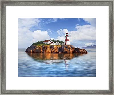 Harbor Light Framed Print by James Charles