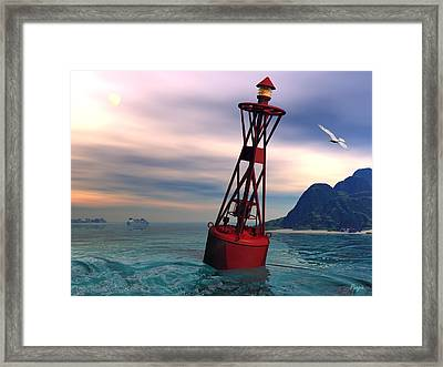 Harbor Light Framed Print by John Pangia