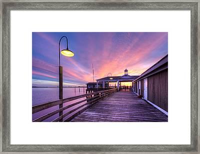 Harbor Lights Framed Print by Debra and Dave Vanderlaan