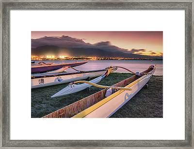 Framed Print featuring the photograph Harbor Lights by Hawaii  Fine Art Photography