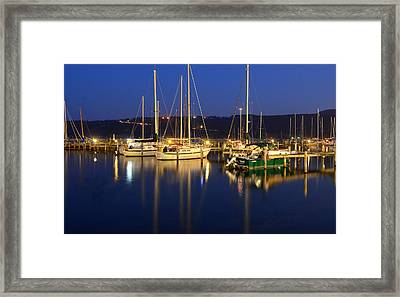 Harbor Nights Framed Print by Frozen in Time Fine Art Photography