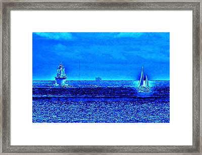 Harbor Of Refuge Lighthouse And Sailboat Abstract Framed Print