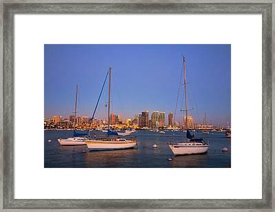 Harbor Sailboats Framed Print