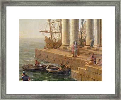 Harbor Scene Framed Print by Claude Lorrain