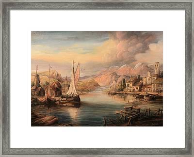 Harbor Scene  Framed Print by Dan Scurtu