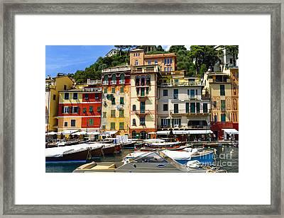 Harbor Scenic In Portofino Framed Print by George Oze