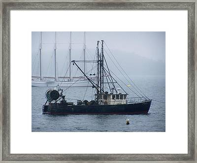 Framed Print featuring the photograph Harbor Ships by Gene Cyr