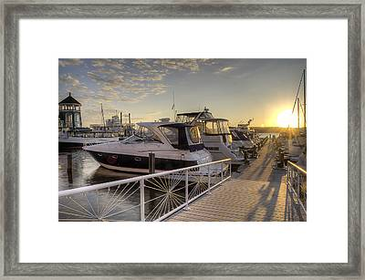 Framed Print featuring the photograph Harbor Sunrise by Michael Donahue