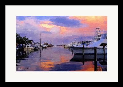 Boats At Dock Mixed Media Framed Prints