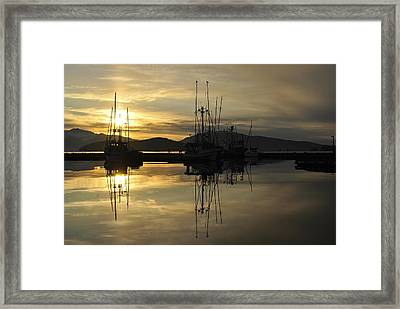 Framed Print featuring the photograph Harbor Sunset by Cathy Mahnke