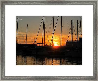 Framed Print featuring the photograph Harbor Sunset In Charleston Sc by Joetta Beauford