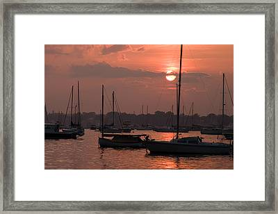 Harbor Sunset Framed Print by Jeff Folger