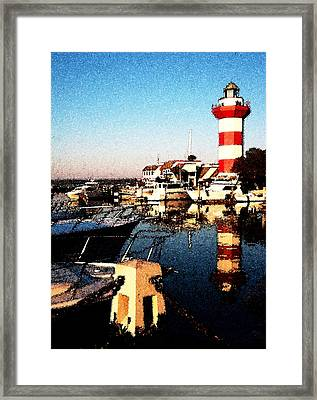 Harbor Town Lighthouse Framed Print