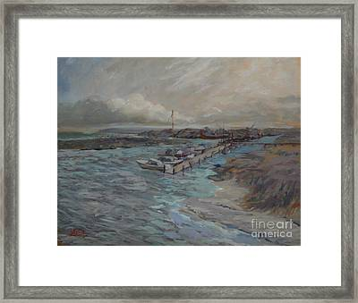 Harbor View At Avalon Framed Print by Monica Caballero