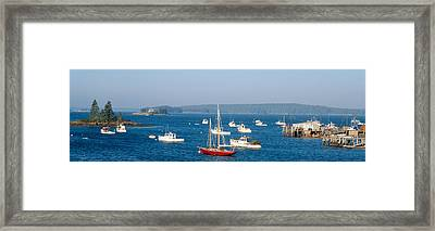 Harbor View Of Lobster Village Framed Print by Panoramic Images