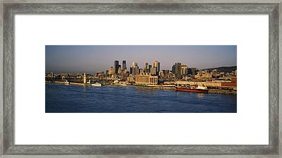 Harbor With The City Skyline, Montreal Framed Print by Panoramic Images