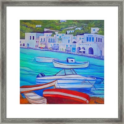 Harborfront Mykonos Framed Print