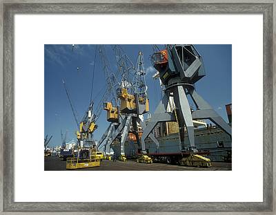 Harbour Cranes Framed Print by Jim West