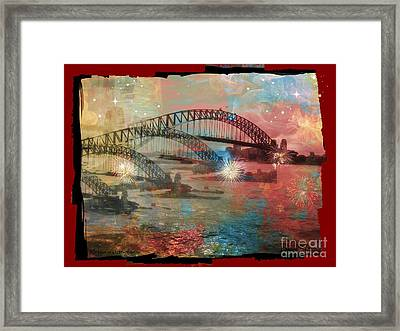 Harbour In Abstraction Framed Print by Leanne Seymour