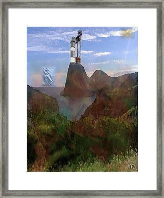 Framed Print featuring the digital art Harbour Light by Kelly McManus