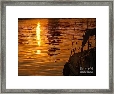 Framed Print featuring the photograph Harbour Sunset by Clare Bevan