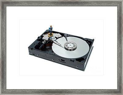 Hard Drive Backup Framed Print by Olivier Le Queinec