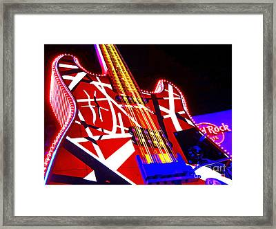 Hard Rock Glowing Guitar Framed Print by Gem S Visionary