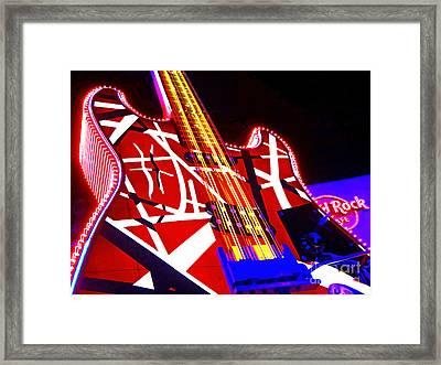 Hard Rock Glowing Guitar Framed Print