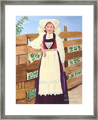 Framed Print featuring the painting Hardanger Girl by Rodney Campbell