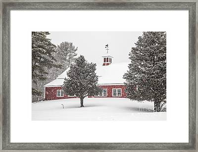 Harding Road Red Barn In The Snow Framed Print by Benjamin Williamson