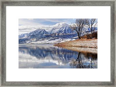 Hardy Fishermen Deer Creek Reservoir And Timpanogos In Winter Framed Print by Gary Whitton