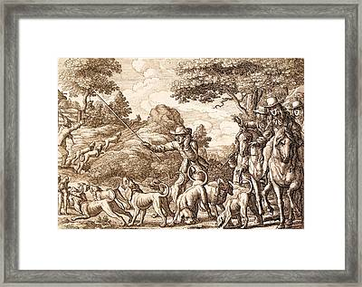 Hare Hunting, Engraved By Wenceslaus Framed Print by Francis Barlow