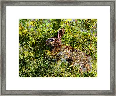 Framed Print featuring the digital art Hare In Hiding by J Larry Walker
