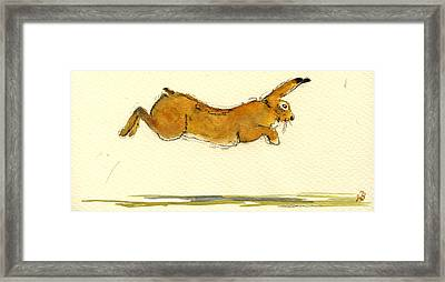 Hare Jumping Framed Print by Juan  Bosco