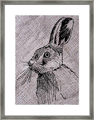 Hare On Burlap Framed Print