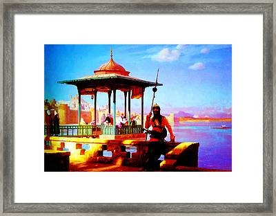 Harem In The Kiosk The Guardian Of The Seraglio 1870 Framed Print by MotionAge Designs
