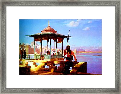 Harem In The Kiosk The Guardian Of The Seraglio 1870 Framed Print