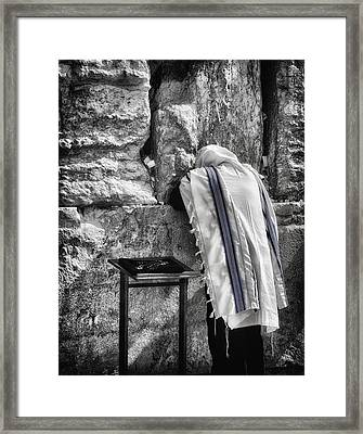 Harken Unto My Prayer O Lord Western Wall Jerusalem Bw Framed Print by Mark Fuller