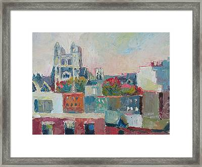 Framed Print featuring the painting Harlem Rooftops by Linda Novick