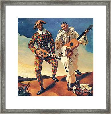 Harlequin And Pierrot Framed Print by Pg Reproductions